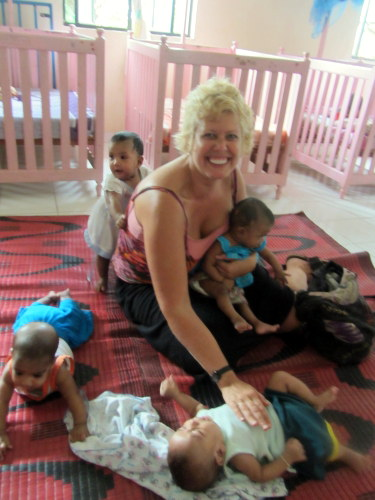 Val with babies in Sri Lanka orphanage